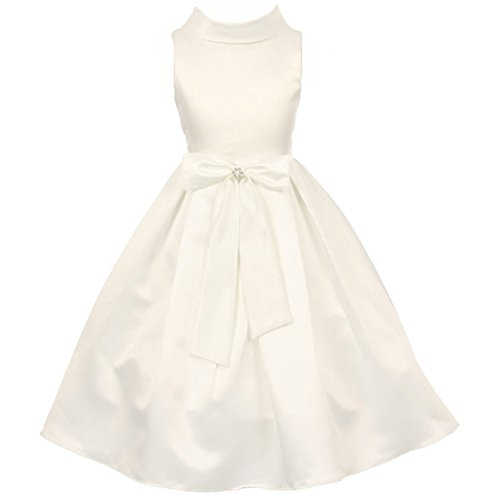 Accented Flower Brooch - Little Girls Dull Satin Girl Dress Accented by Simulated Pearl and Rhinestones Brooch on the Bow Ivory - Size 6