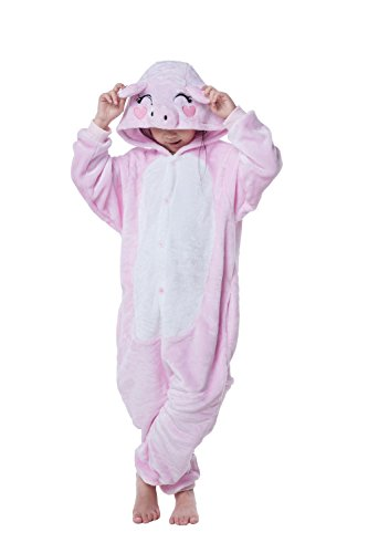 Children's Pajamas Animal Costume Kids Sleeping Wear Kigurumi Pajamas Cosplay (XL, Pink pig) ()