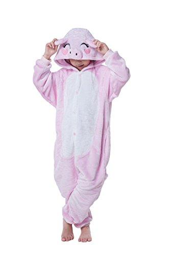 [Children's Pajamas Animal Costume Kids Sleeping Wear Kigurumi Pajamas Cosplay (S, Pink pig)] (Little Pig Costumes)