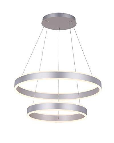 Modern Ceiling Light,ROYAL PEARL Dimmable Circular Led Pendant Light Acrylic with 2 Rings Chandelier Adjustable Hanging Ceiling ()