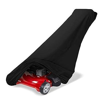 SunPatio Lawn Mower Cover Waterproof, Heavy Duty 600D Premium Mower Cover, Universal Fit, Black