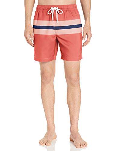 Amazon Essentials Herren Badehose 17,8 cm, Coral/Blue Big Stripe, Small