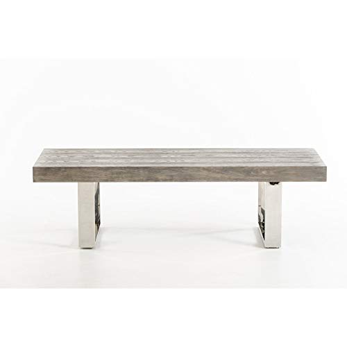 (Benzara BM187580 Wooden Bench with Sleigh-Style Legs, Gray and Silver)