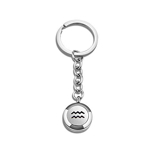 BNQL Zodiac Essential Oil Diffuser Keychain Birthday Gift for Her (Aquarius)