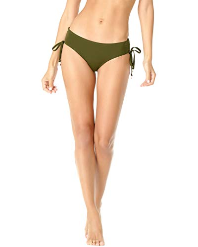 Anne Cole Women's Alex Solid Side Tie Adjustable Bikini Swim Bottom, New Olive, Medium ()