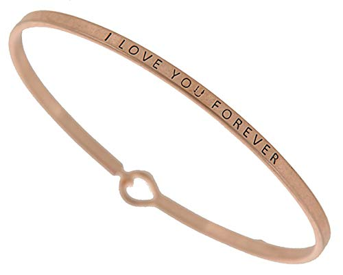 ((Gift Boxed) ST Collection Women's - I Love You Forever - 3mm Message Plated Brass Bangle Bracelet (Worn Copper))