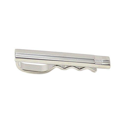 MENDEPOT Classic Tie Slide Rhodium Plated Fashion Slim Tie Slide In Box (Lines) - Rhodium Plated Classic Line