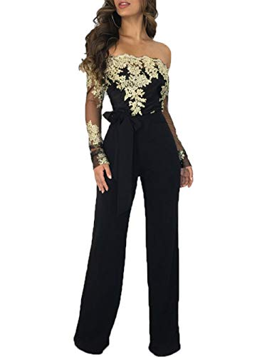 Salimdy Women Sexy Off Shoulder Floral Lace Long Sleeve Bodycon Wide Leg Jumpsuits Rompers with Belt Black Gold XL