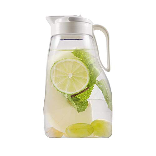 - LargePour Airtight Pitcher with Locking Spout and Carry Handle Japanese Made - For Water Coffee, Tea & Other Beverages - 3.2 Quarts - Clear with White Top