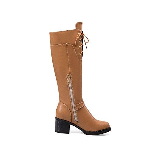 AllhqFashion Damen Mittler Absatz Rein Rund Zehe Reißverschluss Stiefel mit Metallisch, Gelb, 43