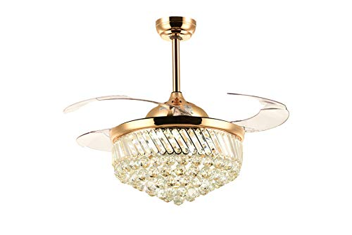 Siljoy Dimmable LED Ceiling Fans with Lights Retractable Blades Invisible Crystal Chandelier Fans Gold 36""