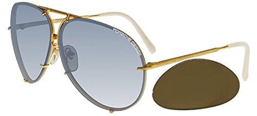 f30018ec32b Galleon - Porsche Design P 8478 P8478 W Gold Pilot Sunglasses 63mm W Extra  Lenses
