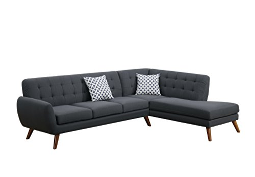 Poundex Bobkona Belinda Linen-like Polyfabric SECTIONAL in Ash Black
