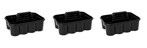 Rubbermaid Commercial Deluxe Carry Cleaning Caddy, Black (3 PACK) by Rubbermaid