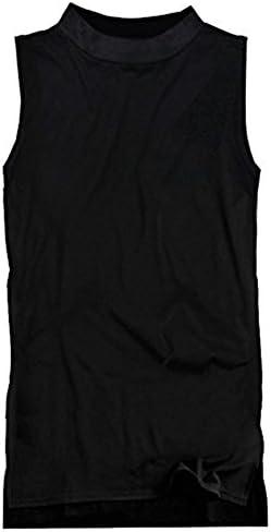 ボトルネック メンズ ロング丈 ノースリーブ 無地 ハイネック タンクトップ 袖なし ブ f680