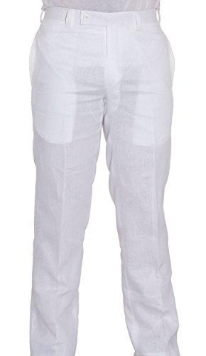 Calvin Klein OffWhite linen Dress Pants For Men Flat Front Style Trousers-J5X0140 by Calvin Klein