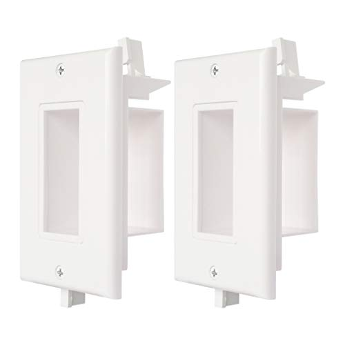 Cable Wall Plate 2 Pack Decorative Recessed Wall Plate with Easy Mount Wings Side Opening for Low Voltage Cable Wall Plate WI1010-2