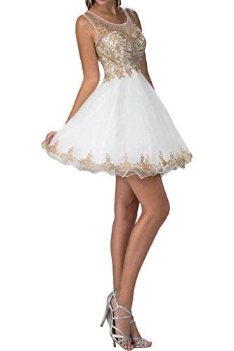 Damen Applikation Modern Rundkragen Weiß Mini Festkleid Abendkleid Ivydressing Promkleid Spitze Partykleid P4wZqRtxd
