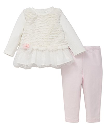 Little Me Baby 2 Piece Long Sleeve Knit Fashion Legging Set, Pink/Faux Fur, 18 Months (Cotton Embroidered Knit Pants)