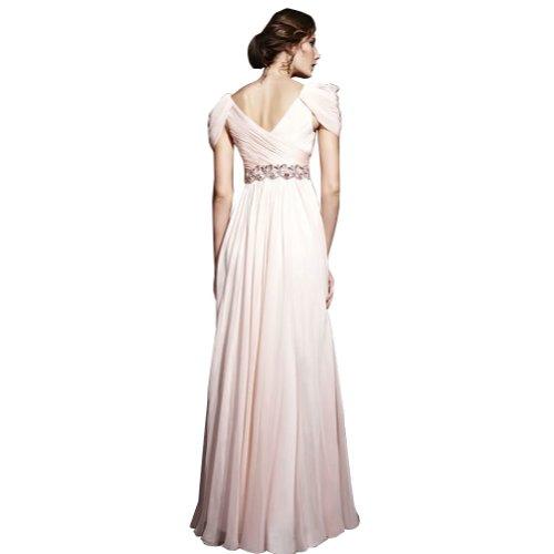 V Chiffon bodenlangen Ausschnitt Spalte BRIDE Perlen mit Weiß Mantel GEORGE Abendkleid Applikationen Cx6nZHqxR