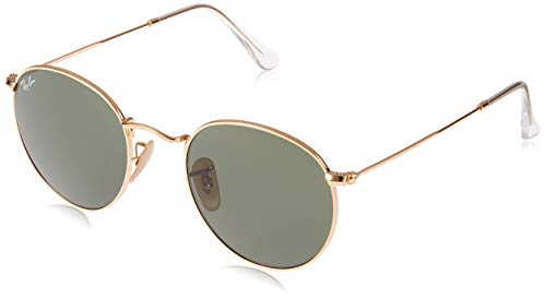 Ray-Ban RB3447 Round Metal Sunglasses, Gold/Green, 50 mm ()