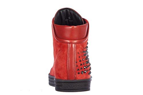 Hogan Rebel scarpe sneakers alte donna in camoscio nuove rebel rosso