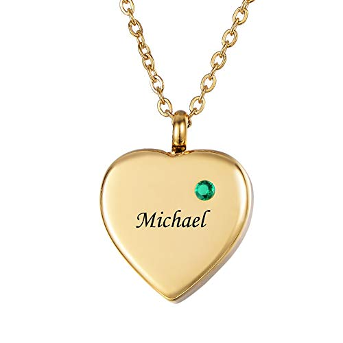 HooAMI Personalized Name Necklace with Birthstone Custom Engraved Cremation Jewelry for Ashes