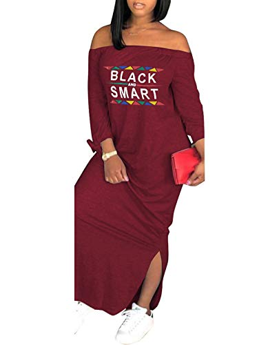 Womens Casual Off Shoulder Maxi Dress, Plus Size Loose Long Sleeve T-Shirt, Letter Print Bowknot Sides Split Fashion Party Dresses Wine Red (XXL)