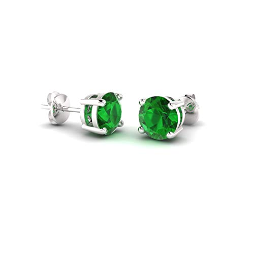 Diamondere Natural and Certified Emerald Solitaire Stud Earrings in 14K White Gold |0.96 Carat Earrings for Women ()
