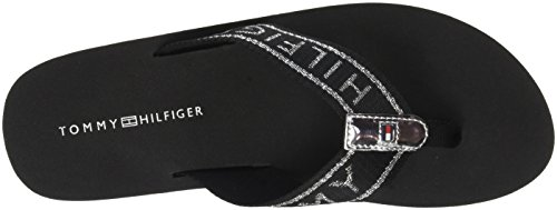 990 Hilfiger Black Flexible Beach Essential Tommy Femme Noir Sandal Tongs 1zdq1Z