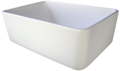 ALFI brand AB503 23-Inch  Fireclay Single Bowl Farmhouse Kitchen Sink, White