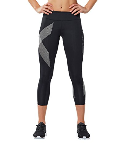 2XU Women's 7/8 Mid-Rise Compression Tights, Black/Striped White, X-Small by 2XU (Image #1)