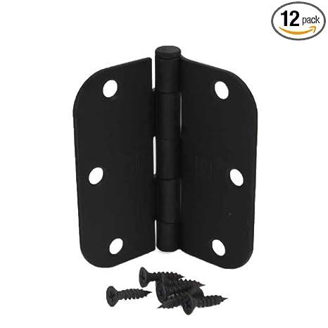 Delicieux (Pack Of 12) 3 1/2 Inch Matte Black Door Hinges With 5