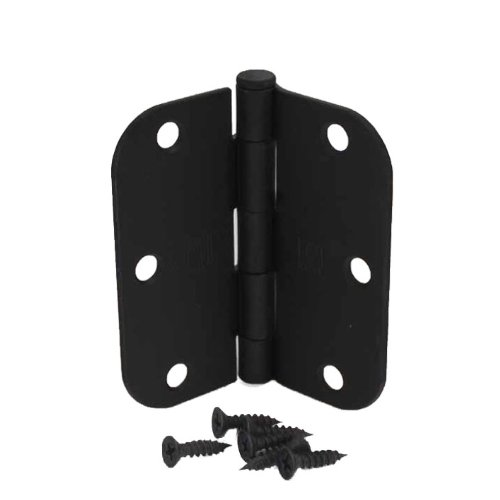 (Pack of 12) 3 1/2 Inch Matte Black Door Hinges with 5/8'' Radius Corners