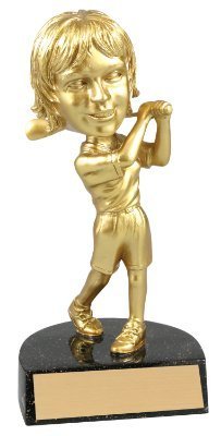 Gold Female Golfer Bobble Head Trophy / Golf Bobblehead Award / Golfing Trophies - Engraved Plate Upon Request - Decade (Female Golfing Award)