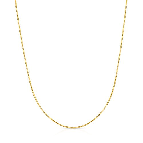 14 Inch 10k White Gold Curb Cuban Chain Necklace for Girls and Boys(1.5 mm) (Curb White Gold Chain)