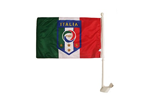 Italia Italy FIGC Logo FIFA World Cup & Country Double Sided Heavy Duty Car Stick Flag 12''X 18'' Inch .. New by SUPERDAVE SUPERSTORE