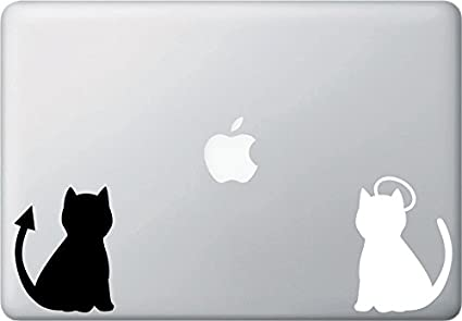 Cats in Love Black or White with Tied Tails Vinyl Car Window Sticker Computer