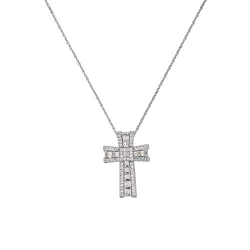 - TriJewels AGS Certified Round & Baguette Diamond Cross Pendant (SI1-SI2, G-H) 1/2 ctw 14K White Gold with 18 inches 14K Gold Chain