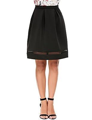 Zeagoo Women's A-Line Pleated Vintage Skirts Classic Haute