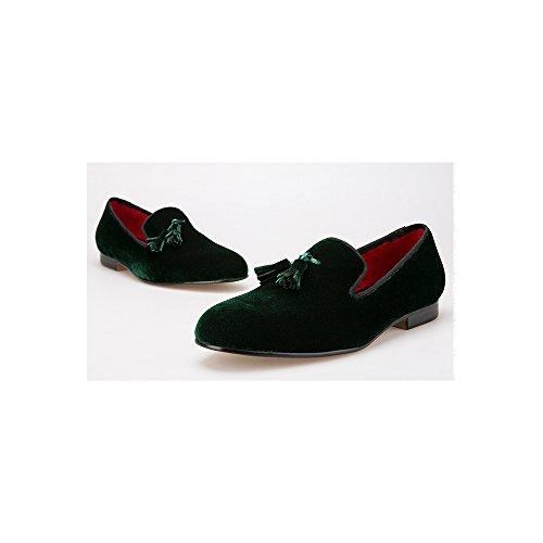 OCHENTA Boda de la manera mocasines zapatos de fiesta de terciopelo de los hombres - Pisos hombres Vino Rojo Asiático 47/ EU 44 7QUKC