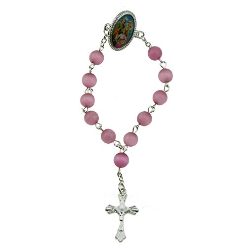 (2pcs X Sacred Heart of Jesus Lapel Pin Rosary Brooch Pink Cat Eye Beads Crucifix (Silver))