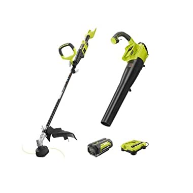 Ryobi Gas-Like Power 40-Volt Lithium-Ion Cordless String Trimmer and Jet Fan Blower Combo Kit