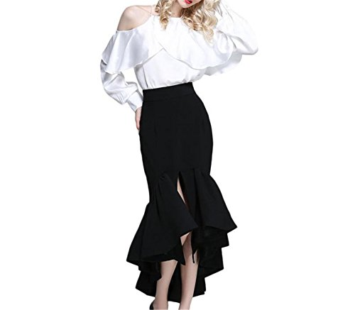 Price comparison product image JIANGTAOLANG Women Long Pleated Ankle Length Skirt Long Trumpet Mermaid OL Office Skirt Black L