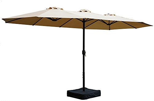 Kozyard Butterfly 14' Outdoor Patio Double-Sided Aluminum Umbrella with Crank and Base (Beige) -