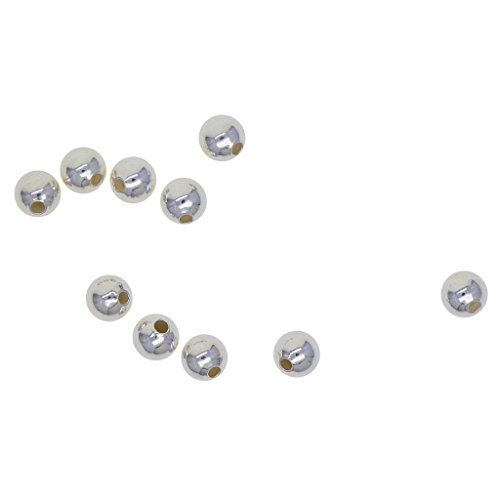 (MagiDeal 10 Pieces Genuine 925 Sterling Silver Seamless Round Ball Beads Spacer Beads for Jewelry Making Findings, 3mm/5mm/6mm to Choose - 6mm (1.2mm hole))