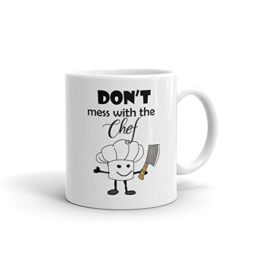Dont Mess with the Chef Cooking Cartoon 11 Oz White Ceramic Coffee Tea Mug Cooking Sarcasm Christmas Birthday Gift from Uitee Store