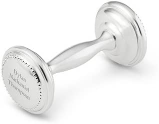 Newborn, Personalized Engraved Silver Plated Dumbbell Rattle Christening