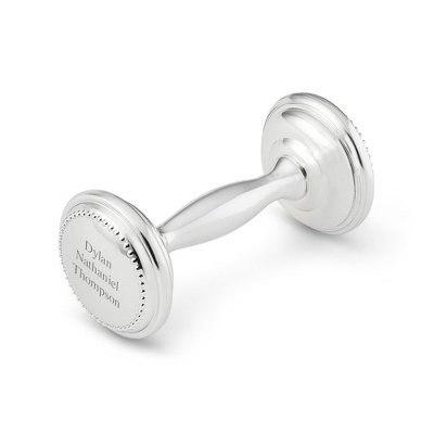 Things Remembered Personalized Silver Plated Rattle with Engraving Included