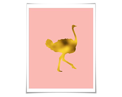 Ostrich Gold Foil Nursery Art Print. 36 Colours/3 Sizes. Animal Print. Bird Art Print
